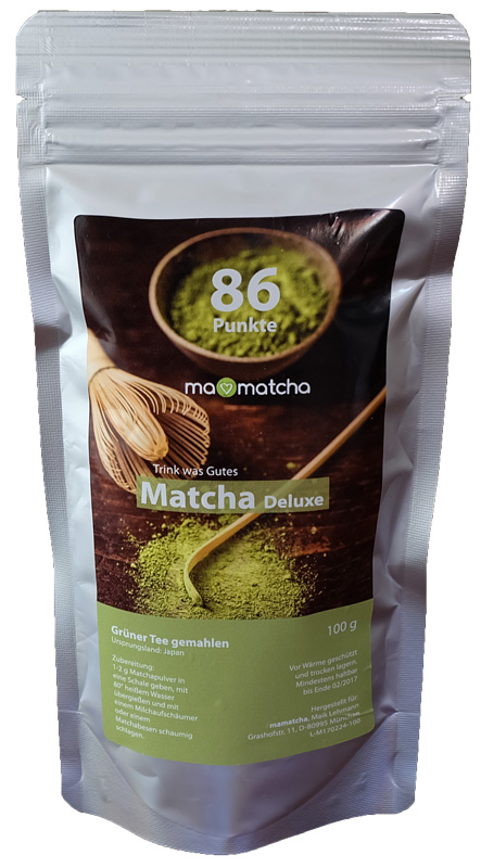 deluxe matcha 100 g mamatcha trink was gutes. Black Bedroom Furniture Sets. Home Design Ideas